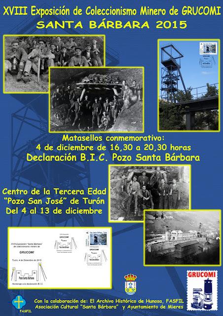 """Cartel de la XVIII Exposición de Coleccionismo minero """"Santa Bárbara"""" de Grucomi"""