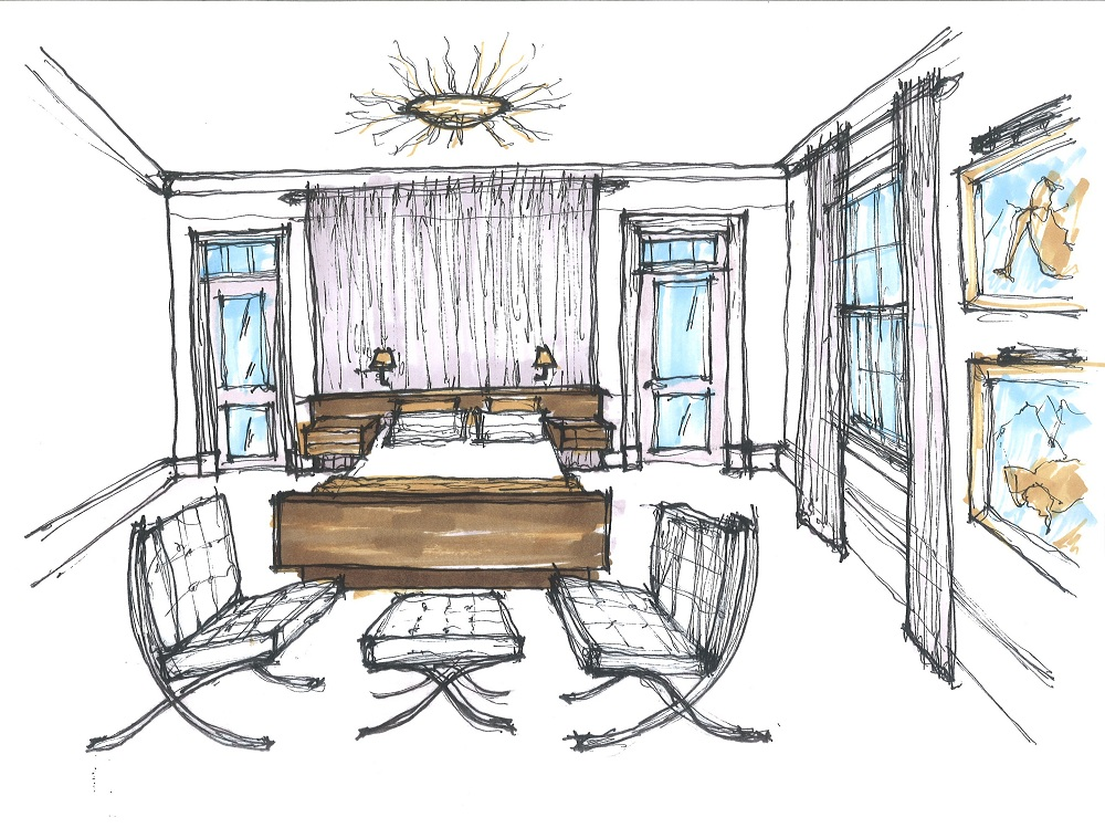 Pin pin bedroom sketches interior design drawings on for Bedroom designs sketch