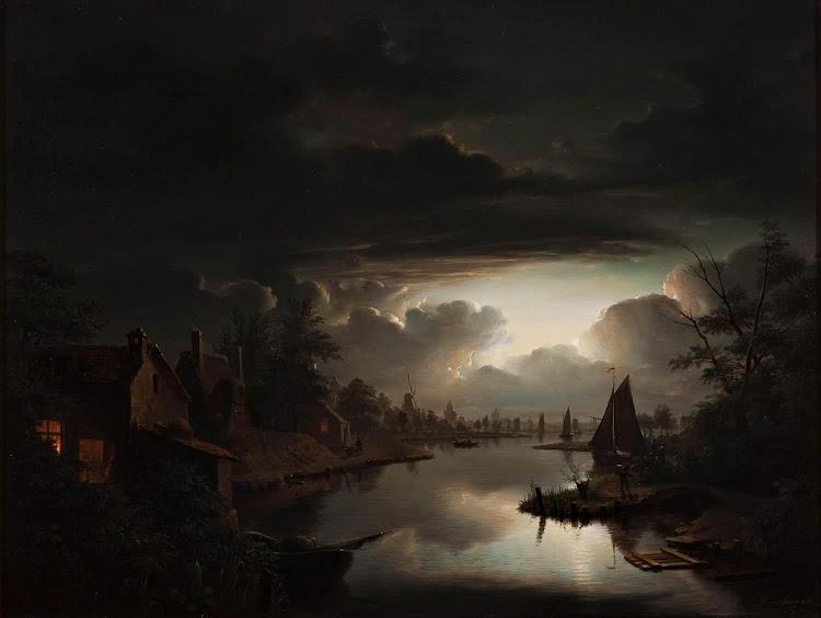 Petrus van Schendel - Nachtelijke marine