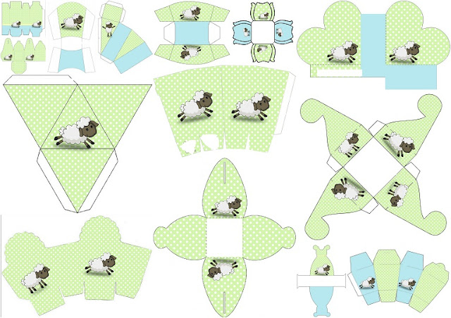 Cute Sheep in Light Blue and Green: Free Printable Boxes.