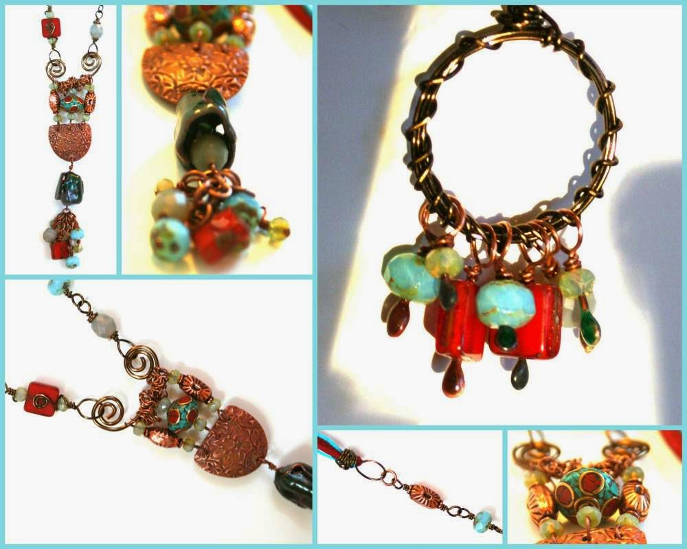 East meets West: ooak necklace, enamel, copper, Tibetan silver, Kristi Bowman copper element, turquoise, coral, Czech beads, crystals :: All Pretty Things