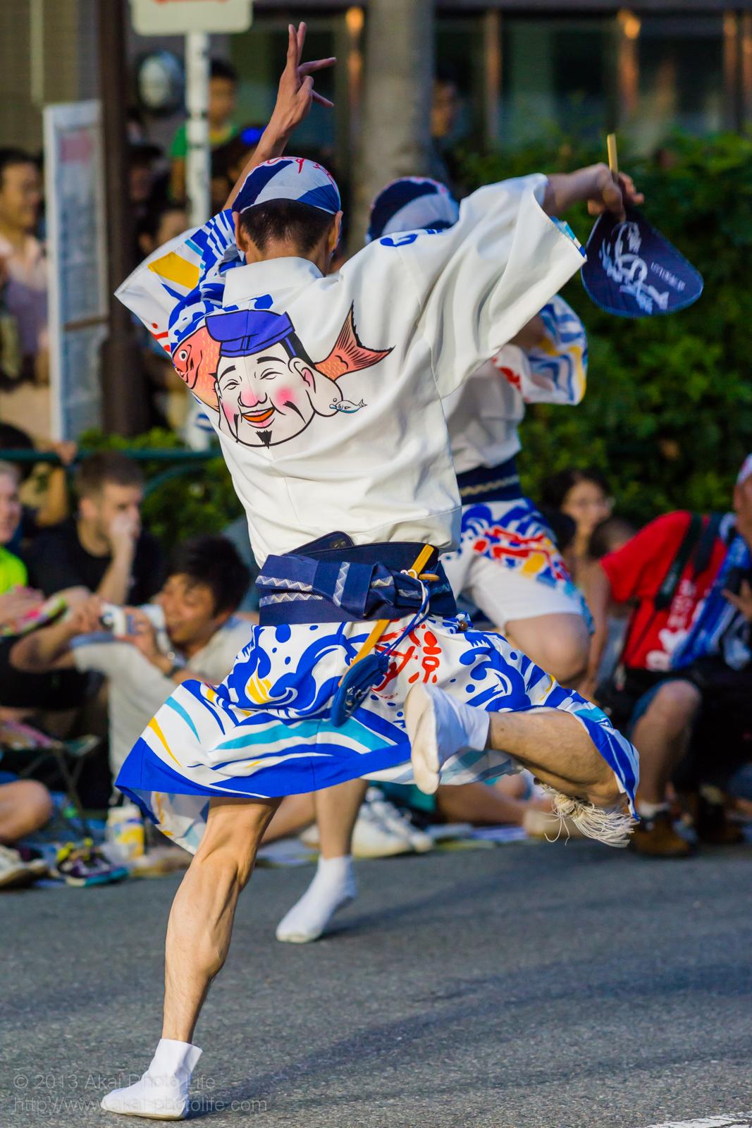 高円寺阿波踊り 東京えびす連の男踊り 団扇