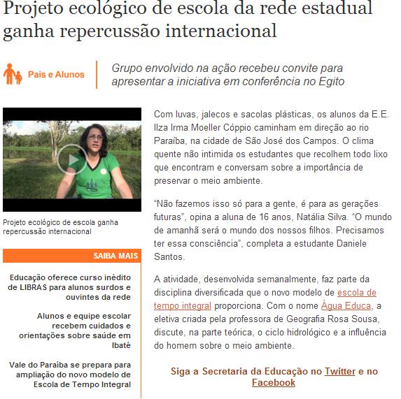 Reportagem no Portal da Educação
