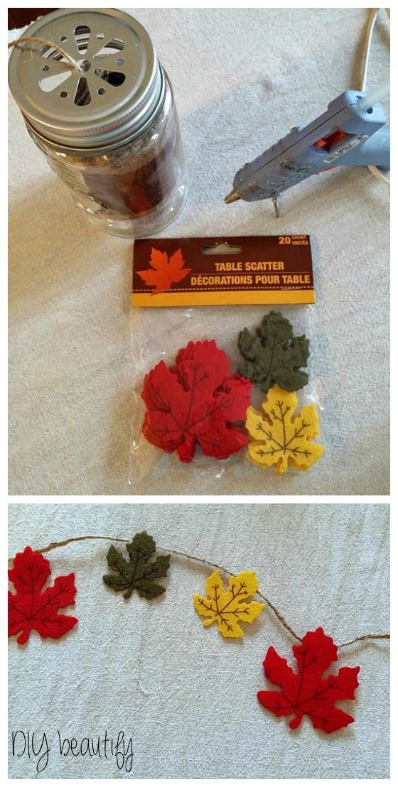 make a simple leaf garland www.diybeautify.com
