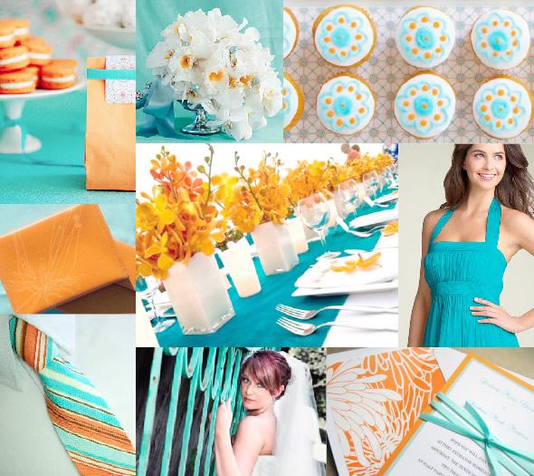 My Stunning Wedding For Less Hot Summer Wedding Colors Shades Of Orange Aqua Tangerine Fuscia