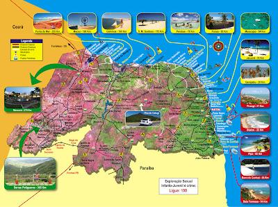Mapa turístico do Rio Grande do Norte