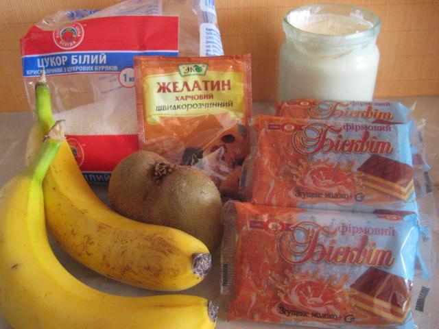 Торт сметана киви банан желатин