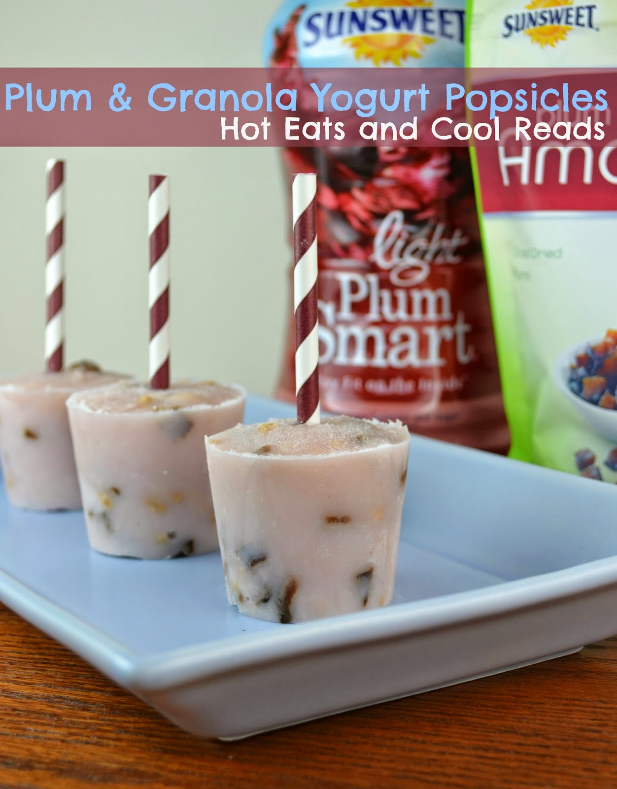 Plum and Granola Yogurt Popsicles from Hot Eats and Cool Reads! Adults and kids both love them. They are healthy, and great for after school or an anytime snack!