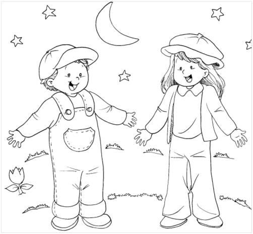 good night kids coloring pages - photo#36