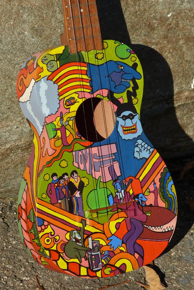 Antebellum Instruments: c.2012 German-made Bruko u0026quot;Yellow Submarineu0026quot; Painted Uke