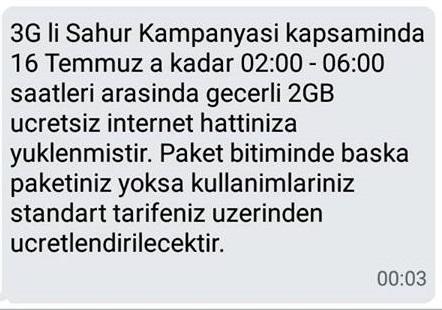 Turkcell sahur paketinde olumlu cevap