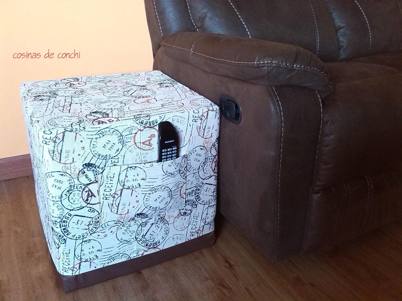 Cosinas de conchi cubo pouf con tutorial - Como forrar un armario con tela ...