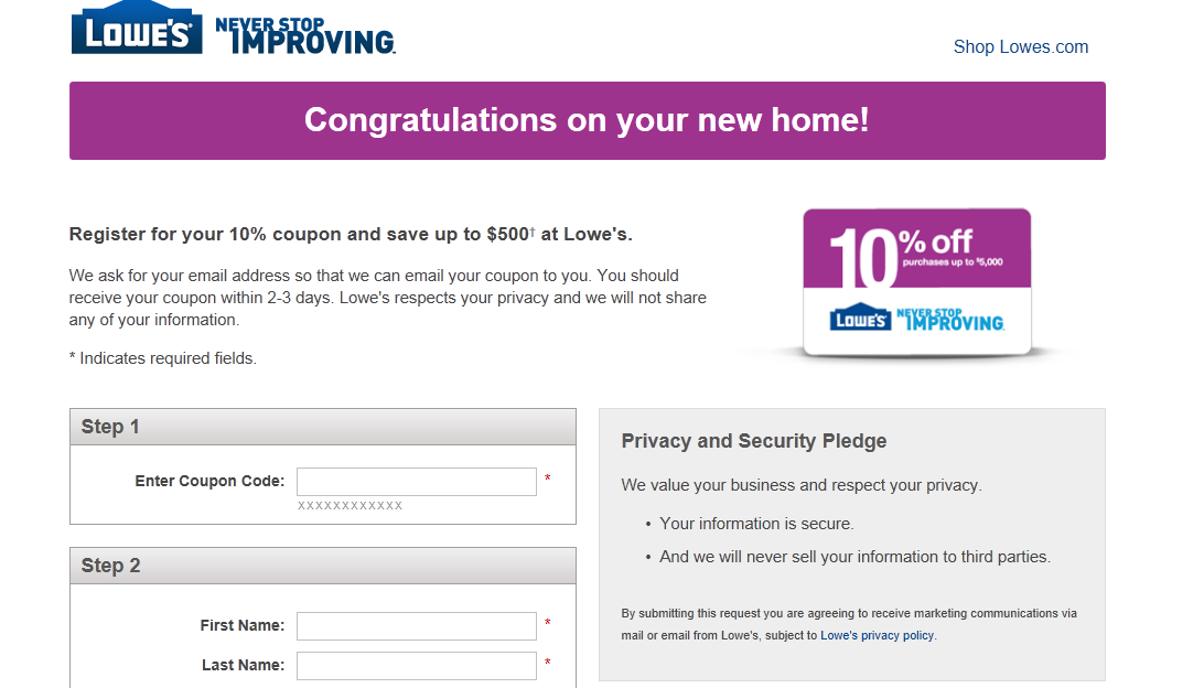 Lowes new house coupons