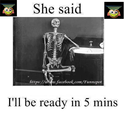 A funny image of man who becomes skeleton because his wife said she will be ready in 5 minutes,but she took a long time,a very funny picture image,you can't stop laughing