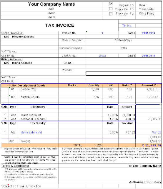 m.a audits & academi: tax invoice format, Invoice examples