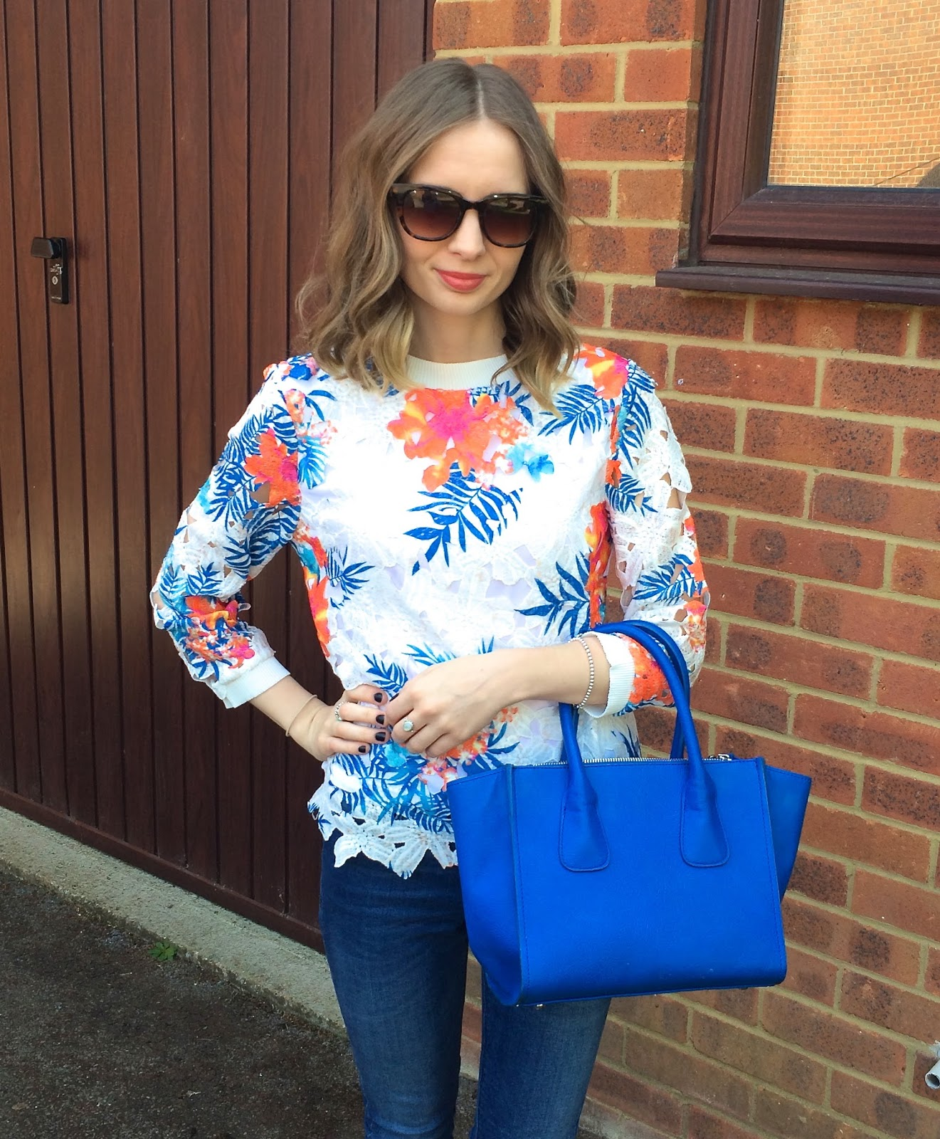 VERY Fearne Cotton Oriental Printed Lace Top