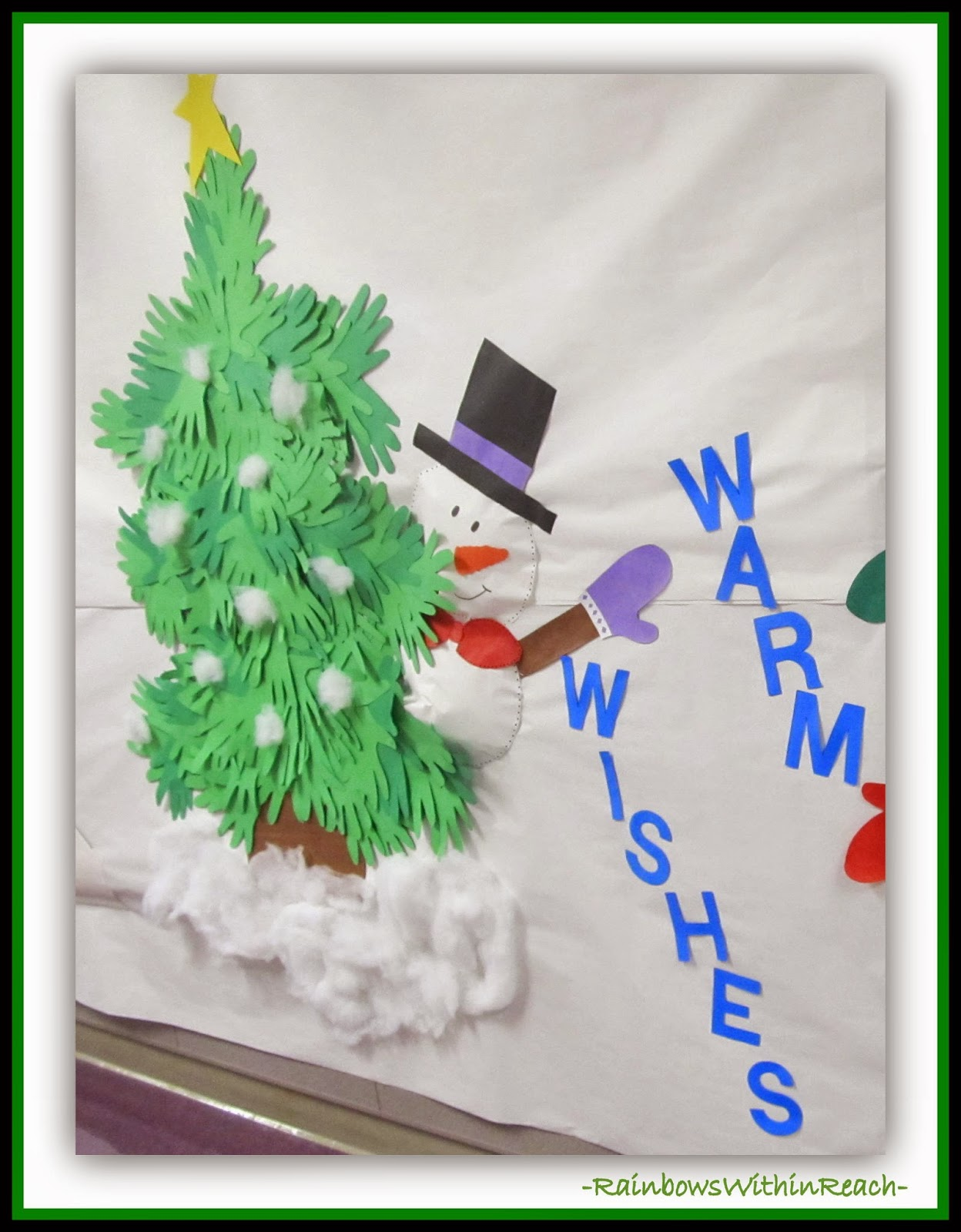 Christmas Tree Made from Hand Tracings {Hand RoundUP at RainbowsWithinReach}