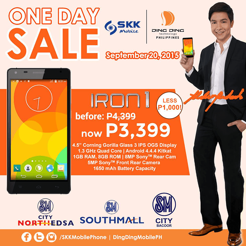 DING DING IRON 1 AND IRON 2 TO HAVE A ONE DAY SALE! DOWN TO 3,399 AND 4,399 PESOS RESPECTIVELY!