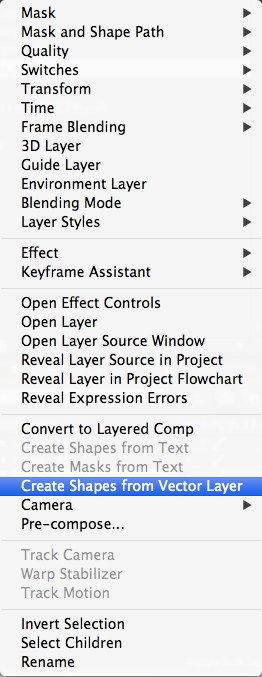 Create Shapes from Vector Layer in the contextual menu of Adobe After Effects.
