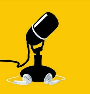 Icon illustration of a radio microphone and ear bud earphones