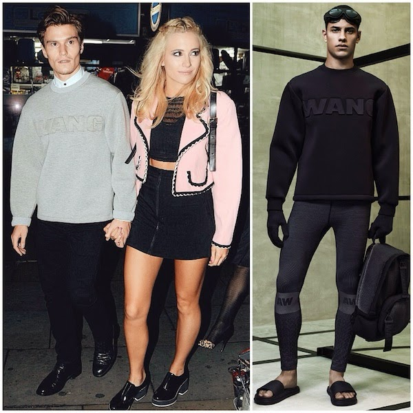 Pixie Lott and Oliver Cheshire wears Alexander Wang x HM grey sweatshirt in London October 2014