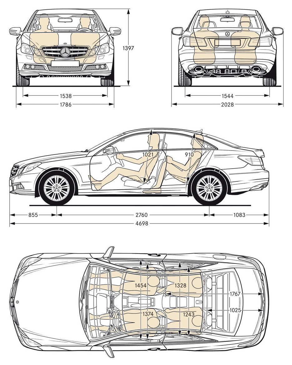 Car blueprints and free 3d models blueprint mercedes benz e class blueprint photo sketch drawings of mercedes benz e class coupe 2010 car model malvernweather Choice Image