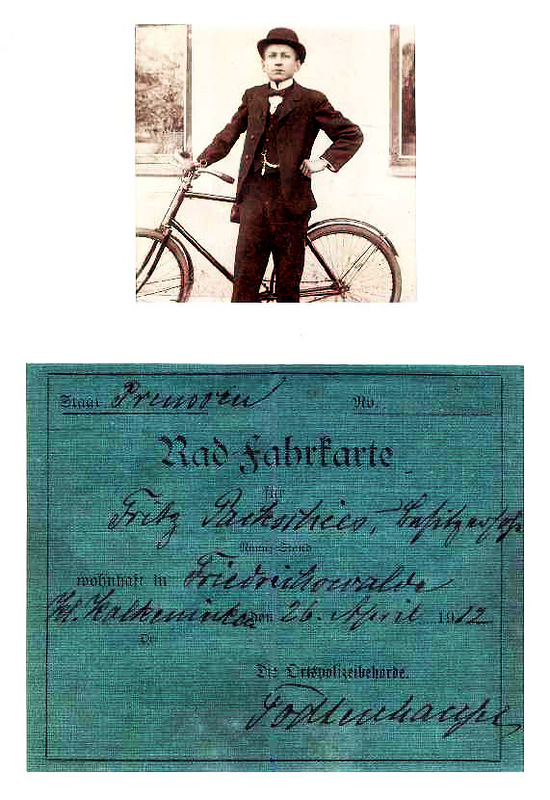Велоудостоверение документ фото Восточная Пруссия