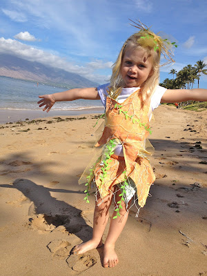 DIY Starfish Costume girl on beach