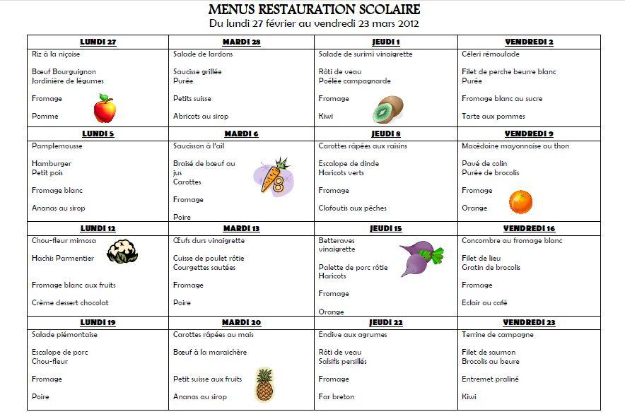 menu scolaire new calendar template site. Black Bedroom Furniture Sets. Home Design Ideas