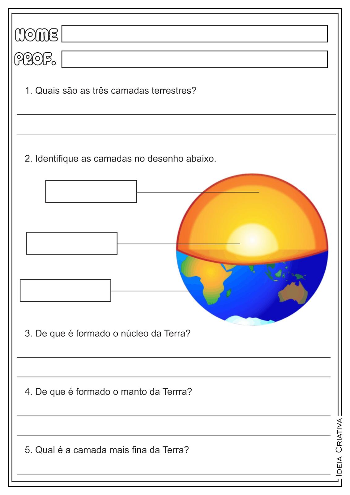 Atividades Camadas da Terra Placas Tectônicas Geografia Ensino Fundamental