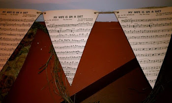 Banner made from old sheet music