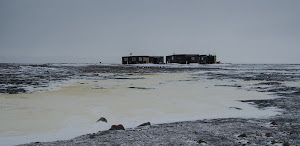 The camp from the far side of a frozen pond