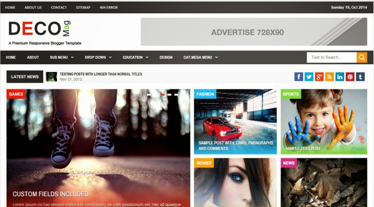 Deco Mag - Responsive Magazine Blogger Template