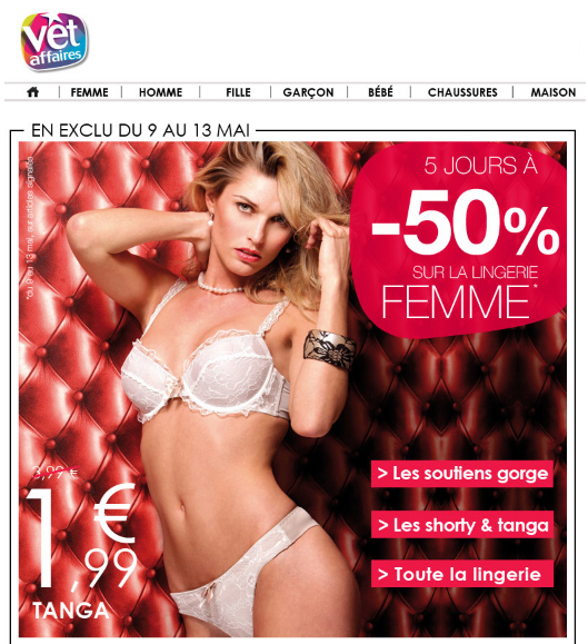 Tanga à partir de 1.99€...Lingerie à -50% chez Vet Affaires promo vet affaires bon plan lingerie