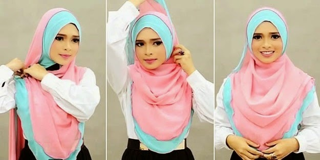 Tutorial Hijab Syar'i Nyaman dan Simple Lapis Dua Warna
