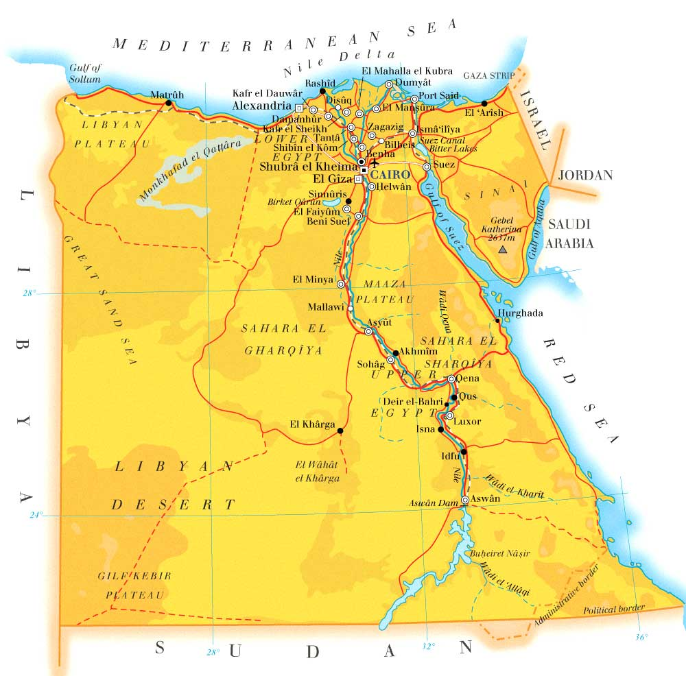 Egypt Map Hd - Map of egypt hd