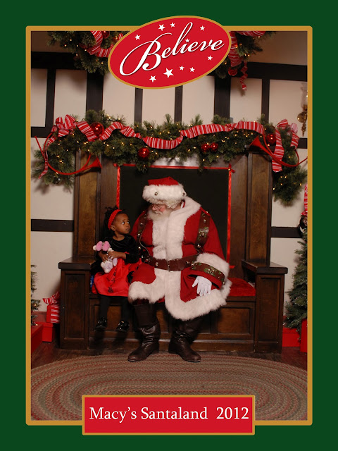 Violet and Santa at Macy's Santaland