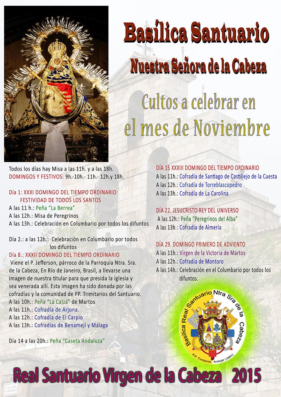CULTOS MES DE NOVIEMBRE 2015 EN EL SANTUARIO.