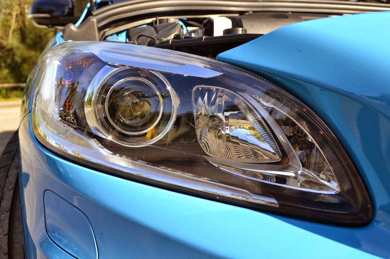A close up of the V60's active xenon headlights