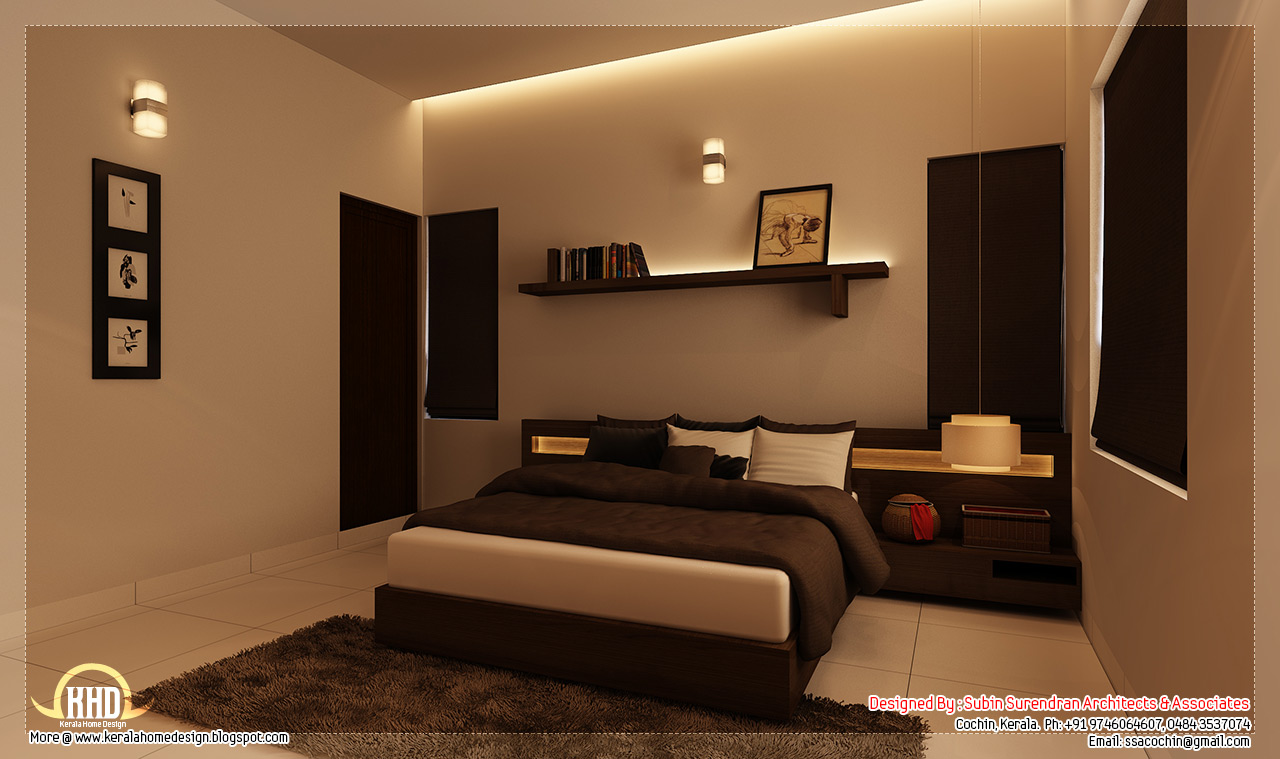 Beautiful home interior designs kerala home for Bedroom interior design pictures