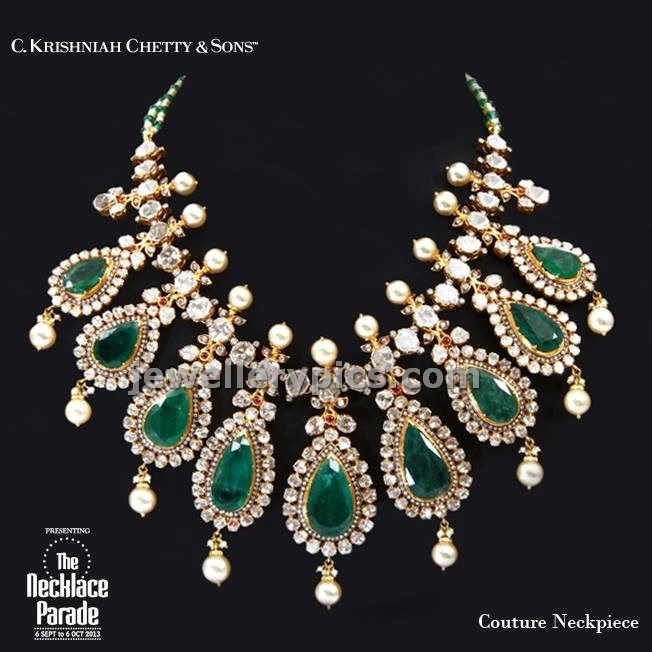 pear shaped big emeralds necklace from ck chetty jewellers
