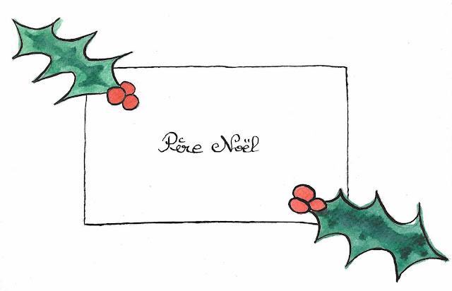 une liste, une enveloppe, du houx, c'est Noël