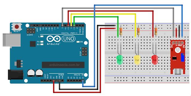 Circuito Arduino Uno e Sensor de Som