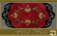 "Floral Blaze Wool Applique Runner 12"" by 25.5"""
