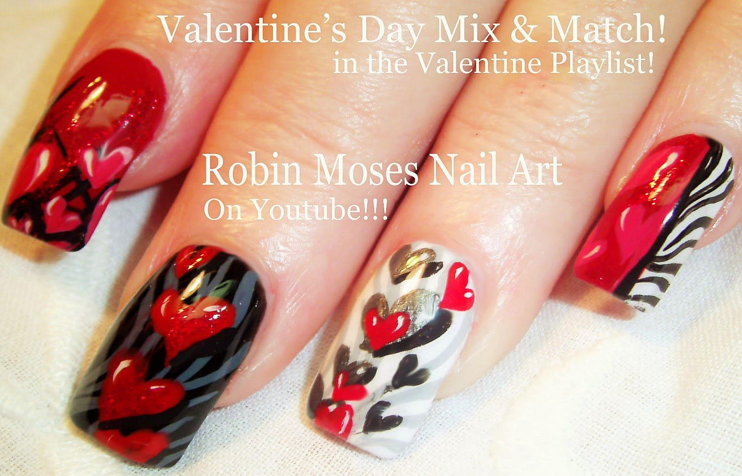 5 Nail Art Tutorials | Valentine Nails | Hearts & Zebra Print Nail Design - Nail Art By Robin Moses: