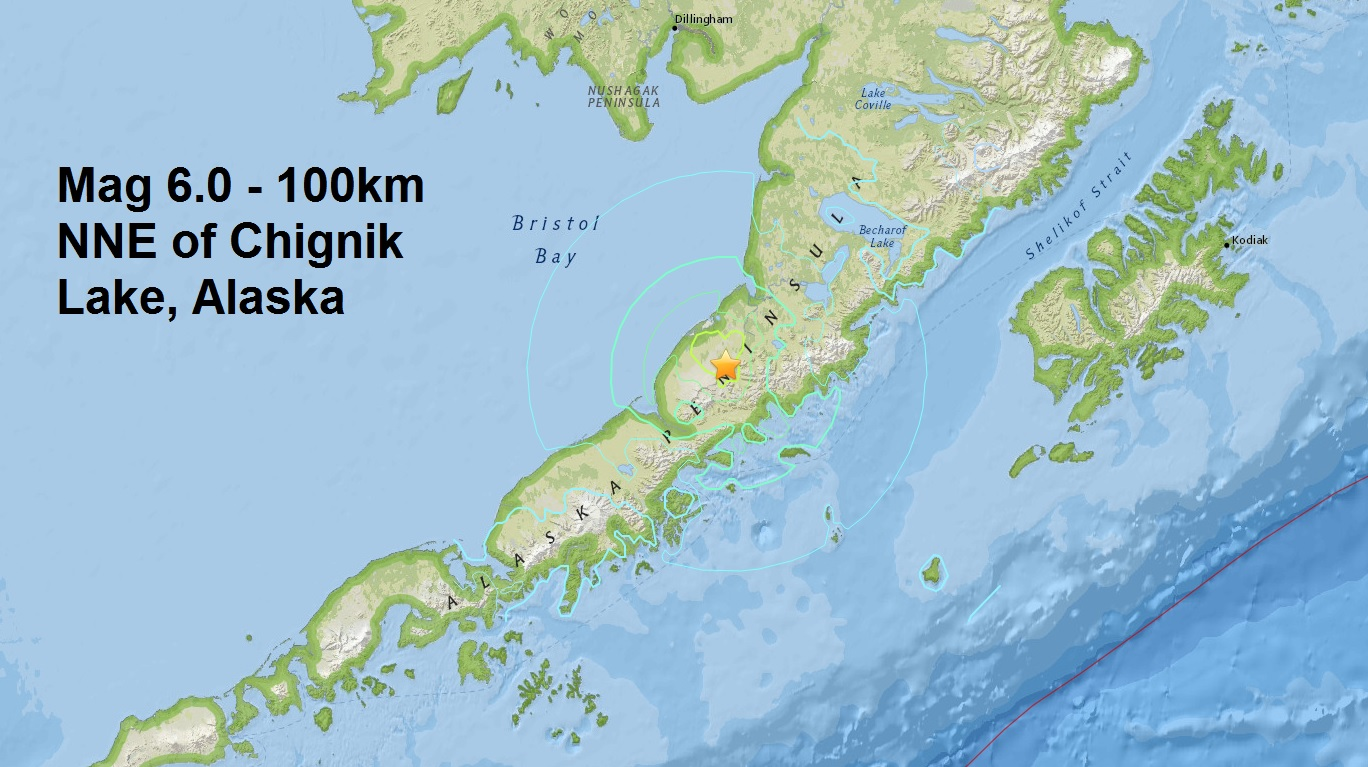 The third major quake of April....A mag 6.0 - 100km NNE of Chignik Lake, Alaska