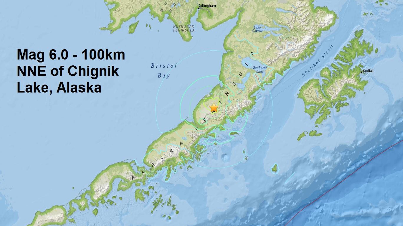 The third major quake of April....A mag 6.0 - 100km NNE of Chignik Lake, Alaska