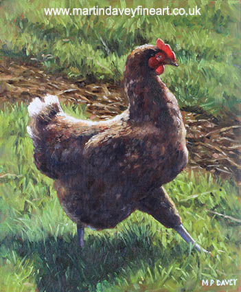 Single chicken walking around on grass oil painting