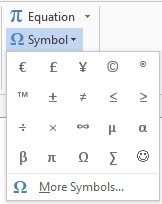 word 2013 symbol