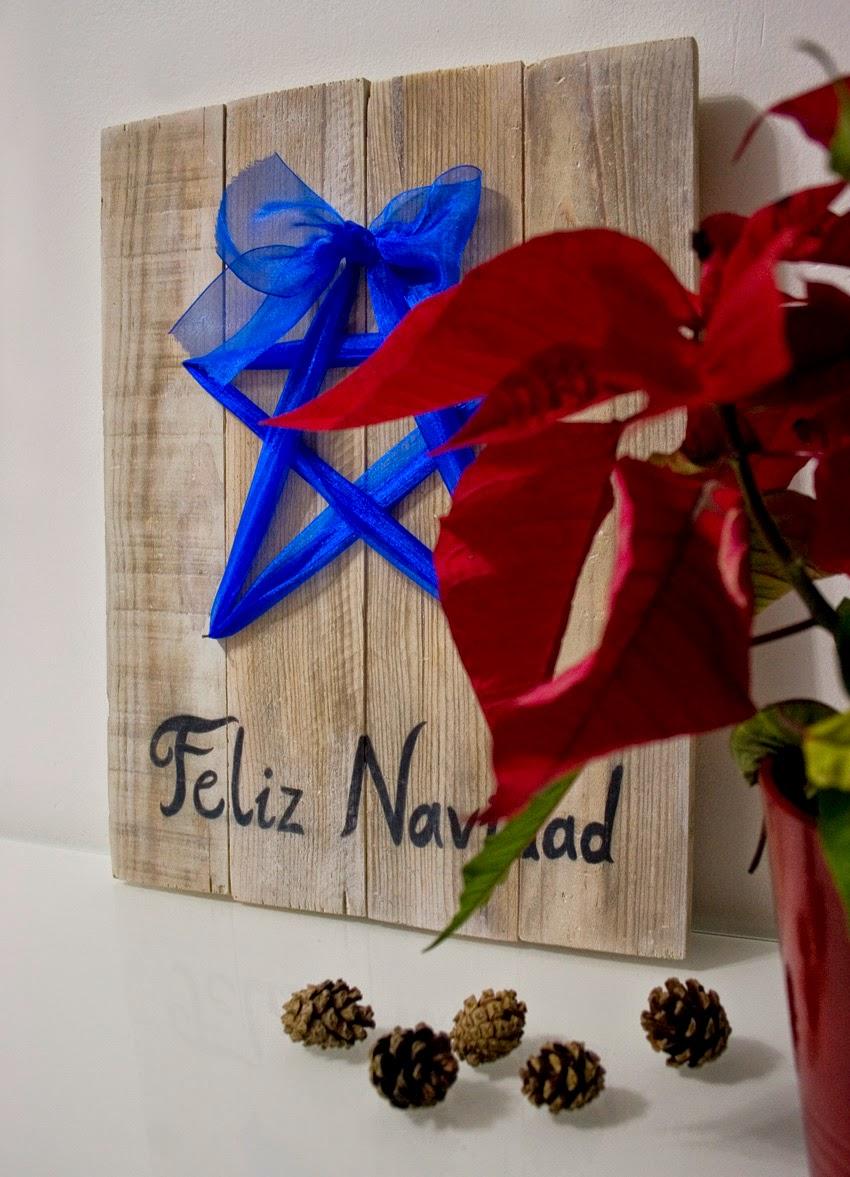 Diariodeco9: Diy Feliz navidad con madera de palet y lazo para Yaicla8